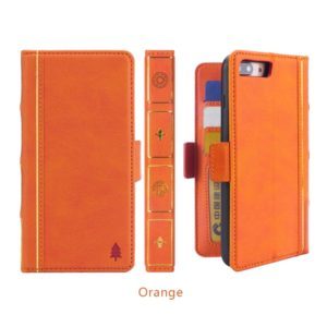 Bible Style Business Horizontal Flip Leather Case for iPhone 8 Plus & 7 Plus, with Card Slots & Photo Frame & Holder & Wallet (Orange)