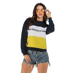 Stitching Contrast Print Pullover Fashion Sweatershirt (Color:As Show Size:XL)