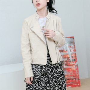Women Slim PU Leather Motorcycle Jacket (Color:Beige Size:S)