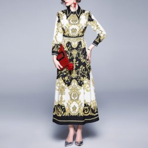Lapel Waist Retro Print Dress (Color:Yellow Size:XXL)