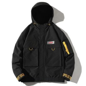 Hooded Loose Casual Coat Embroidery Tooling Jacket for Men (Color:Black Size:S)