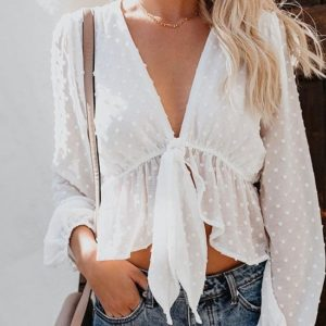 Deep V-neck Lantern Sleeve Top Shirt(Color:White Size:S)