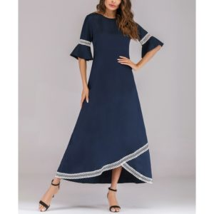 Lace Panel Flare Sleeve Dress (Color:Navy Blue Size:M)