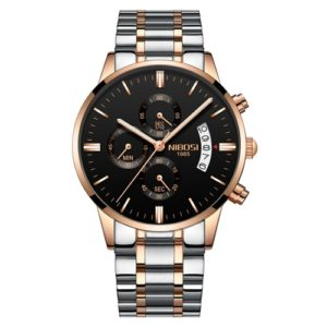 NIBOSI 2353 Three-eye Six-needle Timing Sports Quartz Watch for Men(RoseGold Black Steel) (NIBOSI)