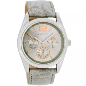 Ρολόι OOZOO Timepieces Grey Leather Strap - C7621 C7621