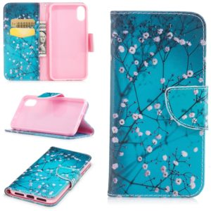 Colored Drawing Pattern Horizontal Flip Leather Case for iPhone 6& 6s,with Holder & Card Slots & Wallet(Plum Blossom)