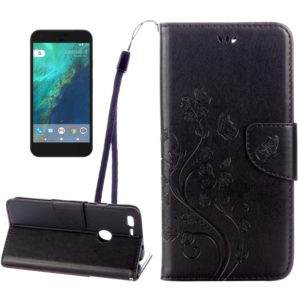 For Google Pixel Butterflies Love Flowers Embossing Horizontal Flip Leather Case with Holder & Card Slots & Wallet & Lanyard(Black)