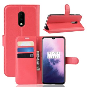 Litchi Texture Horizontal Flip Leather Case for OnePlus 7, with Holder & Card Slots & Wallet(Red)