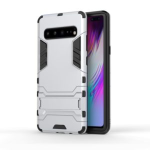 Shockproof PC + TPU Case for Galaxy S10 5G, with Holder(Silver)