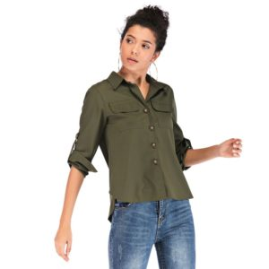 Fashion Solid Color Lapel Folded Sleeves Slim Pocket Shirt (Color:Army Green Size:L)