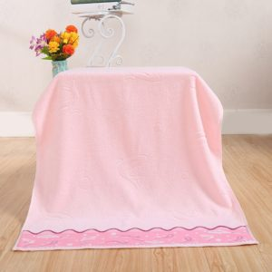 Fishes Pattern Jacquard Cotton Pastel Bath Towel, Size: 70cm x 140cm(Pink)