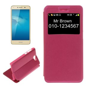 For Huawei Honor 5 Litchi Texture Horizontal Flip PU Leather Case with Call Display ID (Magenta)