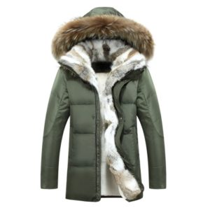 Men and Women Leisure Down Jacket Winter Thick Warm lovers Fur Collar, Size:L(Army Green)