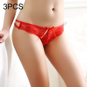 3 PCS FunAdd Women Sexy Low-waisted Transparent Cross Cord Lace Enticing Thongs Panties, Free Size(Red) (FunAdd)