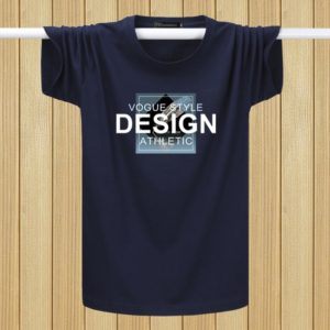 English Printing T-shirts Youth Plus Fat Loose Half-sleeved Casual Short-sleeved (Color:Navy Blue Size:L)