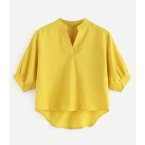 Front Short Back Long Loose Shirt (Color:Yellow Size:S)
