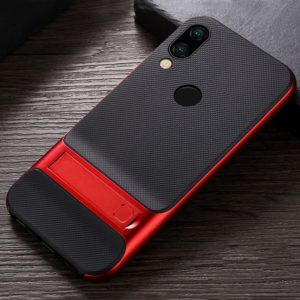 For Xiaomi Redmi Note 7 Plaid Texture Non-slip TPU + PC Case with Holder(Red)