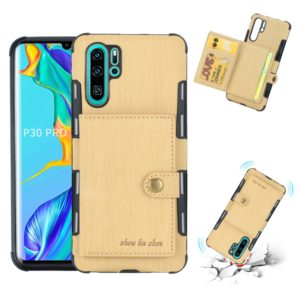For Huawei P30 Pro Brushed Texture Shockproof PU + TPU Case, with Card Slots & Wallet & Photo Frame(Gold)