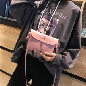 Mini PU Leather Single Shoulder Bag Ladies Handbag Phone Case with Deer (Color:Pink Size:OneSize)