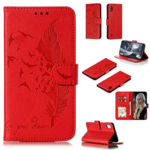 Feather Pattern Litchi Texture Horizontal Flip Leather Case with Wallet & Holder & Card Slots For Galaxy A10(Red)