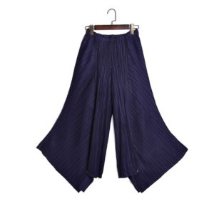 Loose Big Swing Temperament Casual Pants Fold (Color:Navy Blue Size:One Size)