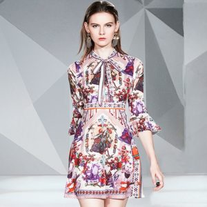 Retro-print Lace-up Flare-sleeve High-waist Dress(Color:As Show Size:XXL)