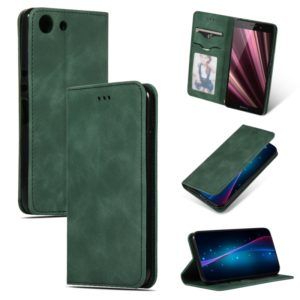 Retro Skin Feel Business Magnetic Horizontal Flip Leather Case for Sony Xperia XZ4 Compact(Army Green)