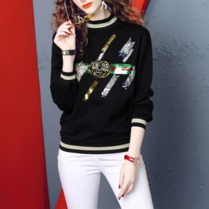 Fashion Loose Casual Beaded Sequin Embroidery Sweatershirt (Color:Black Size:L)