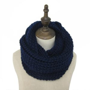 Autumn and Winter Knit Solid Color Thick Wool Thickened Warm Scarf(Navy)