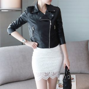 Women Leather Short Paragraph Lapel Jacket (Color:Black Size:M)