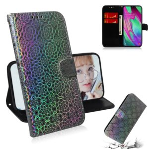 For Galaxy A40 Solid Color Colorful Magnetic Buckle Horizontal Flip PU Leather Case with Holder & Card Slots & Wallet & Lanyard(Silver)