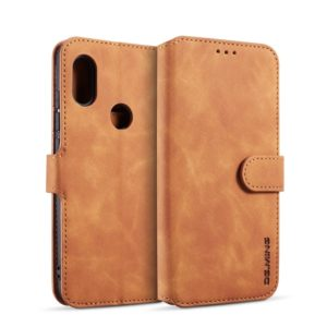 DG.MING Retro Oil Side Horizontal Flip Case for Xiaomi Redmi Note 6 Pro, with Holder & Card Slots & Wallet (Brown) (DG.MING)