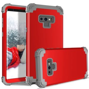 Shockproof 3 in 1 No Gap in the Middle Silicone + PC Case for Galaxy Note9 (Red)