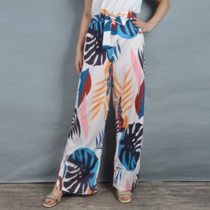 Printing Plant Scraps Split Lace Wide Leg Nine Points Pants (Color:As Show Size:M)