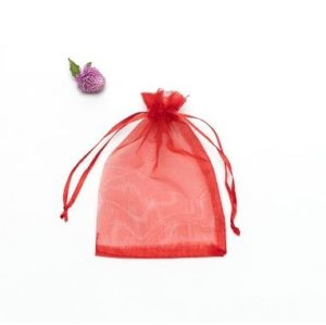 100 PCS Gift Bags Jewelry Organza Bag Wedding Birthday Party Drawable Pouches, Gift Bag Size:10x15cm(Red)