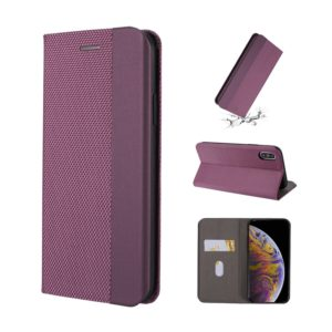 For iPhone XR Ultrathin Shell Magnetic Horizontal Flip Leather Case with Holder & Card Slots(Purple)