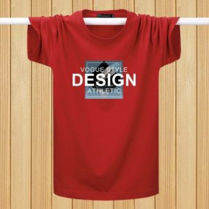 English Printing T-shirts Youth Plus Fat Loose Half-sleeved Casual Short-sleeved (Color:Red Size:M)