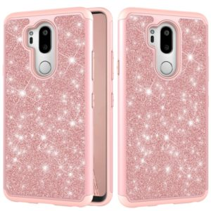 Glitter Powder Contrast Skin Shockproof Silicone + PC Protective Case for LG G7 ThinQ / G7 (Rose Gold)