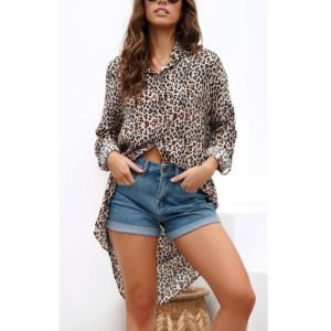 Leopard Print Long Sleeve Shirt (Color:As Show Size:S)