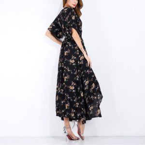 Open Short-sleeved Floral Long Holiday Beach Dress(Color:Black Yellow Flower Size:S)