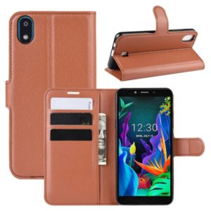 For LG K20 (2019) Litchi Texture Horizontal Flip Leather Case with Wallet & Holder & Card Slots(Brown)