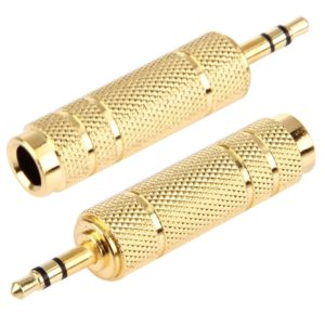 Gold Plated 3.5mm Plug to 6.35mm Stereo Jack Adaptor Socket Adapter