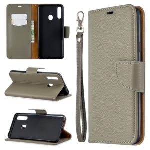 For Galaxy A20s Litchi Texture Pure Color Horizontal Flip PU Leather Case with Holder & Card Slots & Wallet & Lanyard(Grey)
