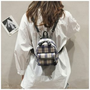 Fashion Plaid Double Shoulders School Bag Travel Backpack Bag