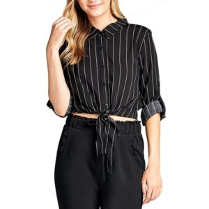 Striped Knotted Lapel Mid-sleeve Ladies Shirt (Color:Black Size:M)