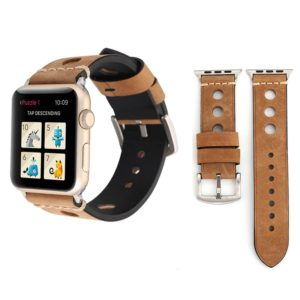 For Apple Watch Series 3 & 2 & 1 38mm Retro Hole Genuine Leather Wrist Watch Band(Khaki)