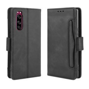 For Sony Xperia 5 Wallet Style Skin Feel Calf Pattern Leather Case with Separate Card Slot(Black)