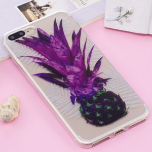 For iPhone 8 Plus & 7 Plus IMD Glitter Powder Pineapple Pattern Transparent TPU Cover Back Case