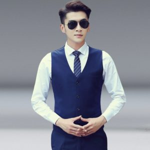 Men Vest Slim Korean Work Clothes Suit Vest Groomsmen Professional Wear Men Vest, Size: L(Navy blue)