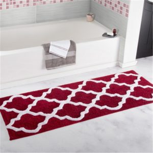 Microfiber Washable Mat Non-Slip Bath Carpets for Bathroom, Size:45x65cm(Magenta)